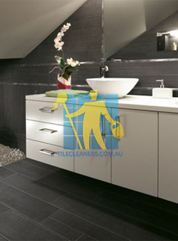 traditional bathroom with barrique series noir wood plank porcelain West Swan