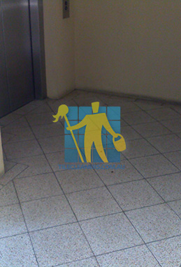 terrazzo tiles dirty floor entrance lift Cannington