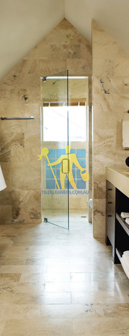 travertine tiles bathroom floor wall shower with dark veining Cannington