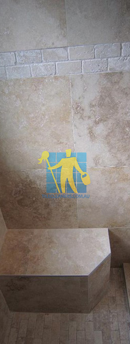 travertine tiles floor wall bathroom natural stone shower with seat Cannington